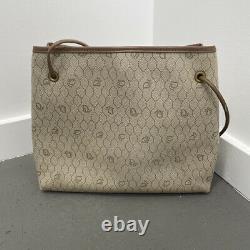 Vintage Christian Dior 70's Brown & Tan Honeycomb Magnetic Closure Shoulder Bag