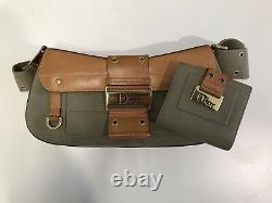 Vintage Christian Dior Columbus Green & Tan Shoulder Bag with Matching Purse