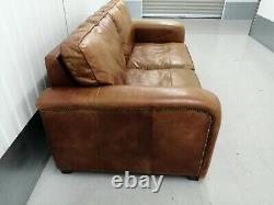 Vintage Chunky Timothy Oulton, Halo Tan Leather Sofa, Settee, Retro, Distressed