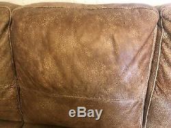 Vintage Cigar Club Large 3 Seater Tan Aniline Leather Sofa Settee