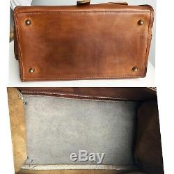 Vintage Coach Bag Haversack British Tan Leather RARE Metal Tag HTF