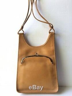 Vintage Coach Bonnie Cashin British Tan Caramel Leather Kisslock Bag Purse Rare