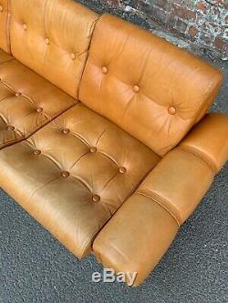 Vintage Continental Tan Brown Leather 3-seater Settee Vintage Leather Sofa