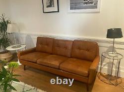 Vintage Danish MID Century Svend Skipper Tan Leather 3 Person Sofa 1966
