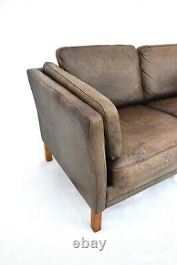 Vintage Danish Morens Hansen Tan Brown Leather 2 Seater Sofa Midcentury 1960's