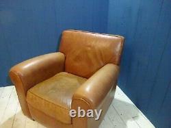 Vintage Distressed Tan Leather Armchair