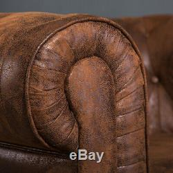 Vintage Distressed Tan Leather Chesterfield Sofa Settee 3 + 2 Seater + Armchair