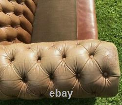 Vintage Distressed Tan Pegasus Leather 4 Seater Chesterfield Sofa