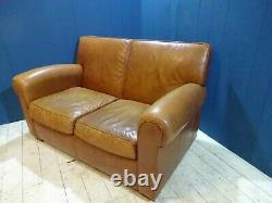 Vintage Distressed Two Seater Sofa in Tan Leather