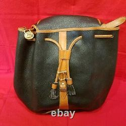 Vintage Dooney and Bourke Black & Tan Pebbled Leather Drawstring Backpack Purse