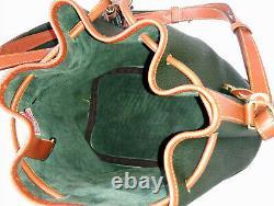 Vintage Dooney and Bourke Drawstring Bucket Shoulder Bag Green / Tan U. S. A