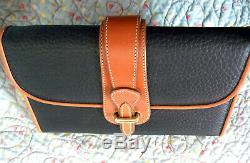 Vintage Dooney and Bourke Equestrian Wallet Rare Black / Tan U. S. A