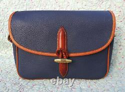 Vintage Dooney and Bourke Large Loden Shoulder Bag Blue / Tan U. S. A