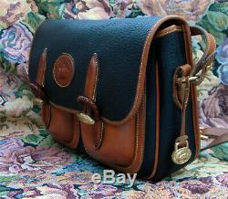 Vintage Dooney and Bourke R 36 Outback Shoulder Bag Black / Tan U. S. A