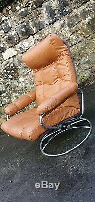 Vintage Ekornes Stressless Brown Tan Leather Reclining Armchair Swivel Chair