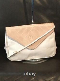Vintage FENDI Off white/Tan Leather Logo Clutch Shoulder Bag Crossbody FENDI