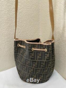 Vintage Fendi Zucca Tan Leather Trim Bucket Shoulder Drawstring XBody Handbag