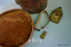 Vintage French Tan Leather Top Hat Box