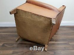 Vintage French Worn Tan Leather Moustache Armchair