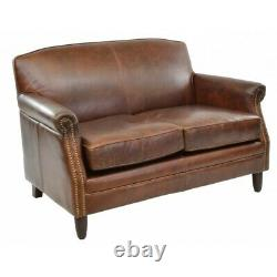 Vintage Genuine Leather 2 Seater Sofa/Love Seat/Tan Couch/Stud Detailing