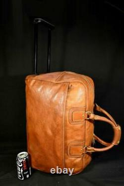 Vintage Ghurka Marley Hodgson 20 Wheeled British Tan Leather CarryOn Duffel Bag