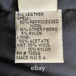 Vintage Golden Bear Men's XL Varsity Jacket Navy Wool Tan Leather USA Zip