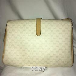 Vintage Gucci Beige & Tan Shoulder Bag Cross-body Small GG Pouch Purse