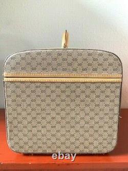 Vintage Gucci Vanity Makeup Cosmetic Travel Trunk Beige Tan Mirror Included