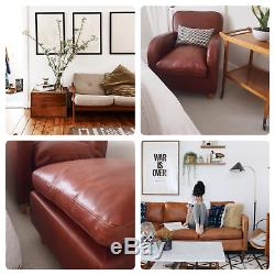 Vintage Habitat Aniline Armchair Tan Havana w footstool Made in France