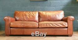 Vintage Halo Living Chesterfield Distressed Tan Real Leather Club Sofa 1