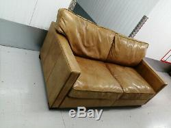 Vintage Halo Viscount William Brown/tan Leather Sofa Distressed, 1/2