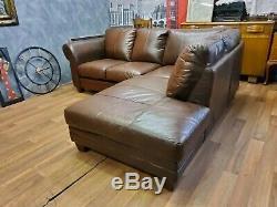 Vintage John Lewis Chesterfield Distressed Tan Aniline Leather Club Corner Sofa