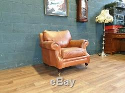 Vintage John Lewis Chesterfield Distressed Tan Leather Club Armchair Chair 1