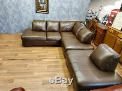 Vintage John Lewis Chesterfield Distressed Tan Leather Club Corner Sofa Suite