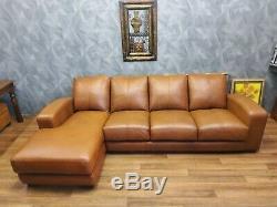 Vintage John Lewis Chesterfield Distressed Tan Leather Club Corner Sofa Suite