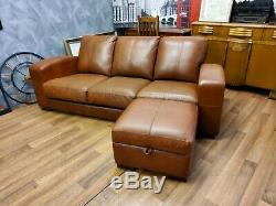 Vintage John Lewis Chesterfield Distressed Tan Leather Club Corner Sofa Suite 2