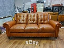 Vintage John Lewis Chesterfield Distressed Tan Real Leather Club Cottage Sofa 1