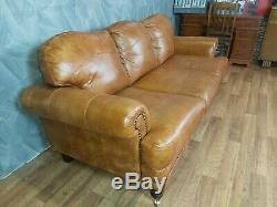 Vintage John Lewis Victorian Chesterfield Chestnut Tan Leather Club Sofa