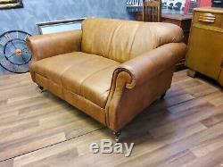Vintage John Lewis Victorian Chesterfield Chestnut Tan Leather Club Sofa 2
