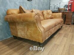 Vintage John Lewis Victorian Chesterfield Tan Leather Club Sofa 4