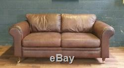 Vintage Laura Ashley Chesterfield Tan Soft Real Leather Cottage Farmhouse Sofa
