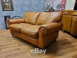 Vintage Laura Ashley Distressed Style Tan Leather Sofa 3 Seater