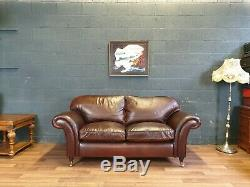 Vintage Laura Ashley Mortimer Chesterfield Tan Soft Real Leather Cottage Sofa 1