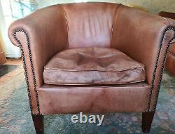 Vintage Leather Club/Tub Chairs (Pair) Distressed Tan Brown