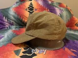 Vintage Levis Corduroy Hat Brown/Tan Orange Tag 1970s Rare Leather Big E 7-7 1/8