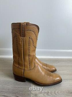 Vintage Lucchese Texas tan leather western cowboy boot HANDMADE SIZE 9.5D MEN