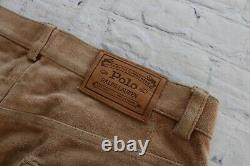 Vintage Mens RALPH LAUREN Polo Tan Suede Leather 5 Pocket Pants 34 x 30
