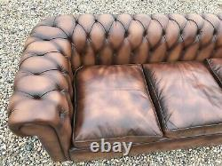 Vintage Mid Century Chesterfield Antique Tan Leather 3 Seater Sofa