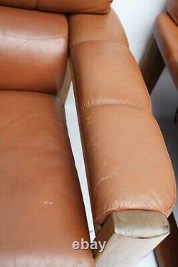 Vintage Norwegian Tan Leather 1960s Armchair Pair