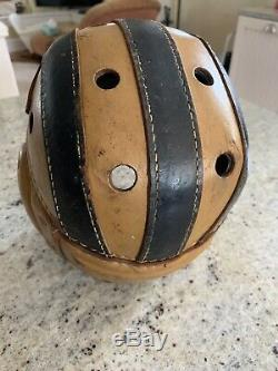 Vintage Old Early 1930's Leather Football Helmet 2 Tone Black Tan Chin Strap